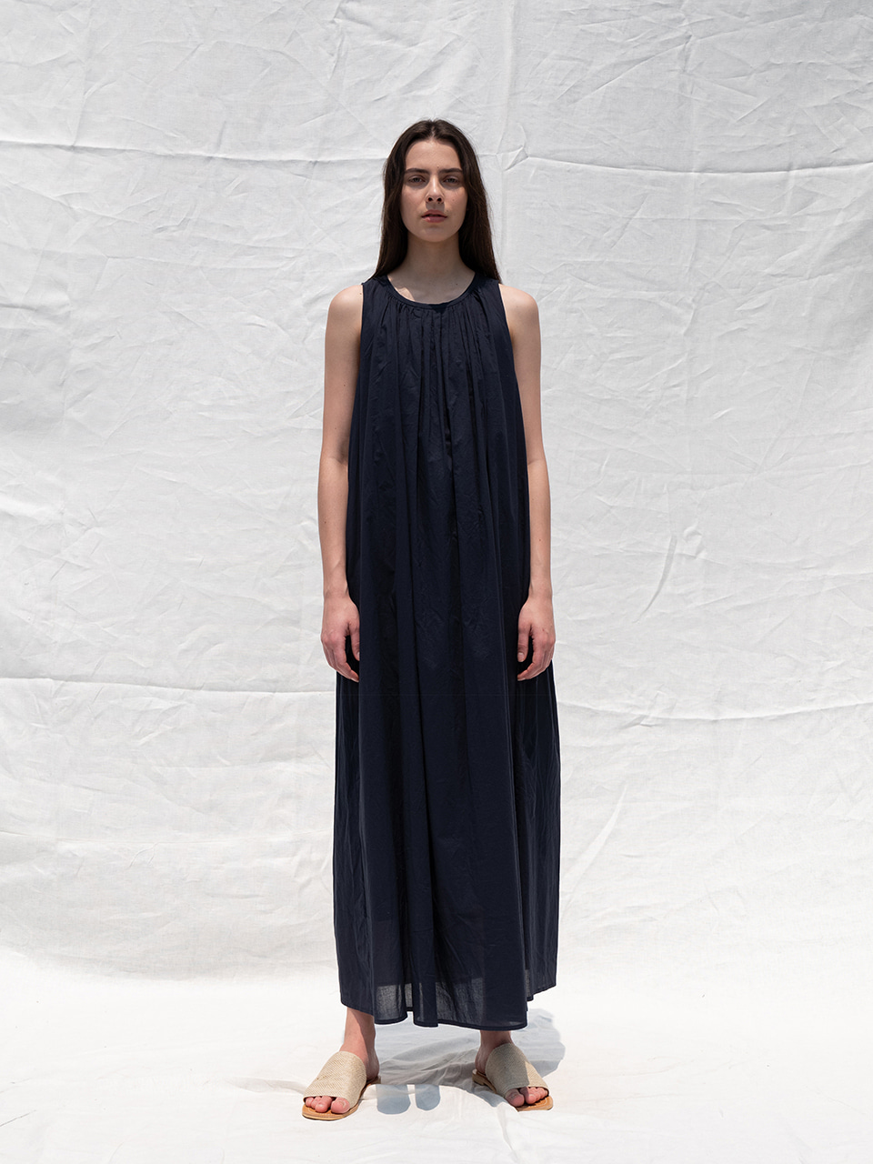 Shirring sleeveless dress_navy