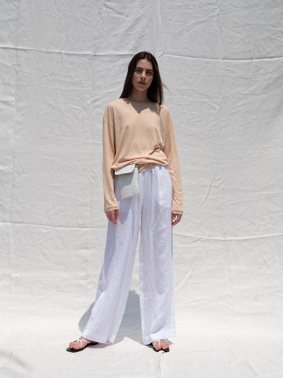 Linen wide banding pants_white