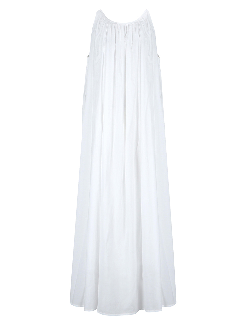 Shirring sleeveless dress_white