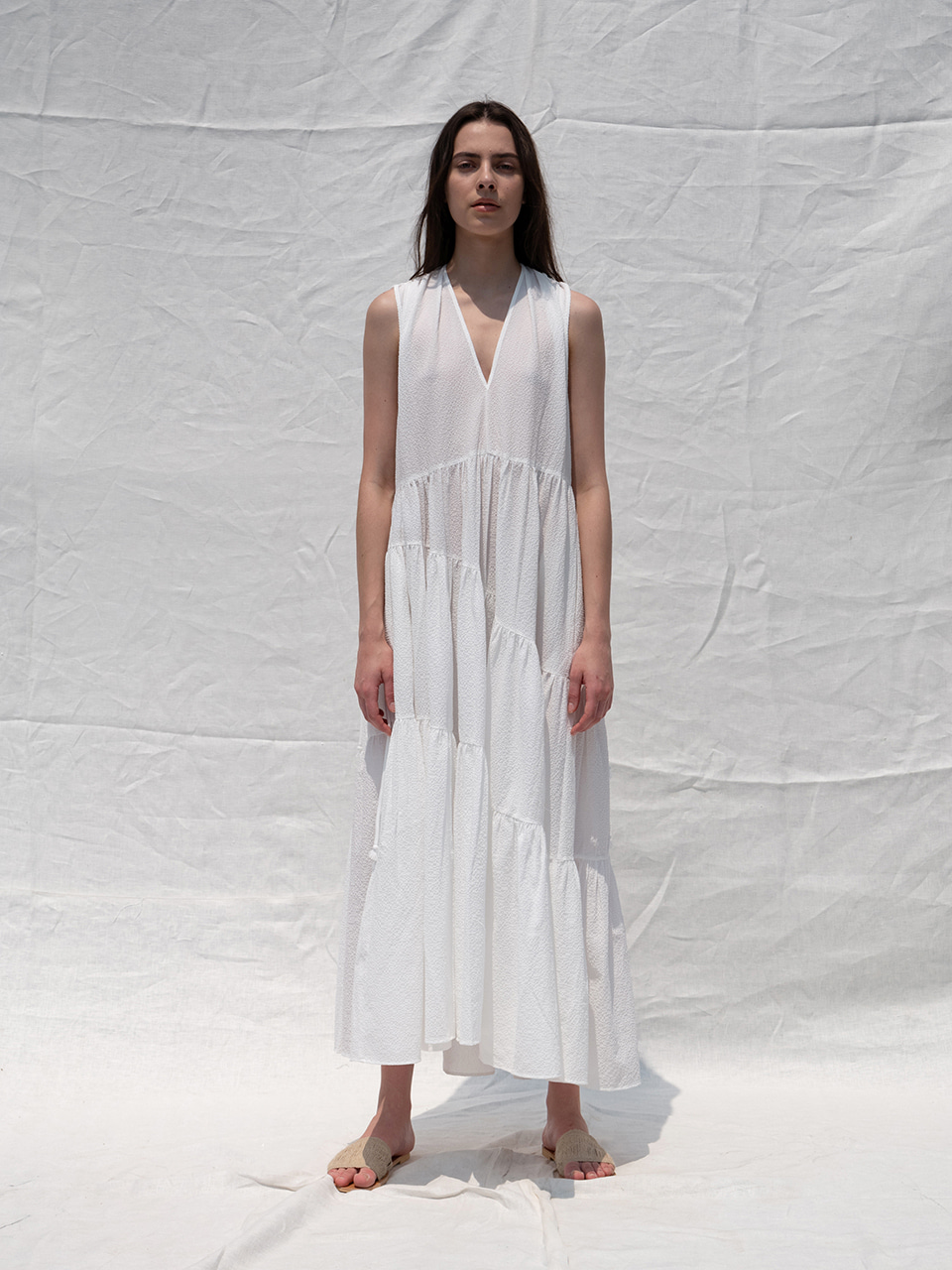 Unbalance string dress_white