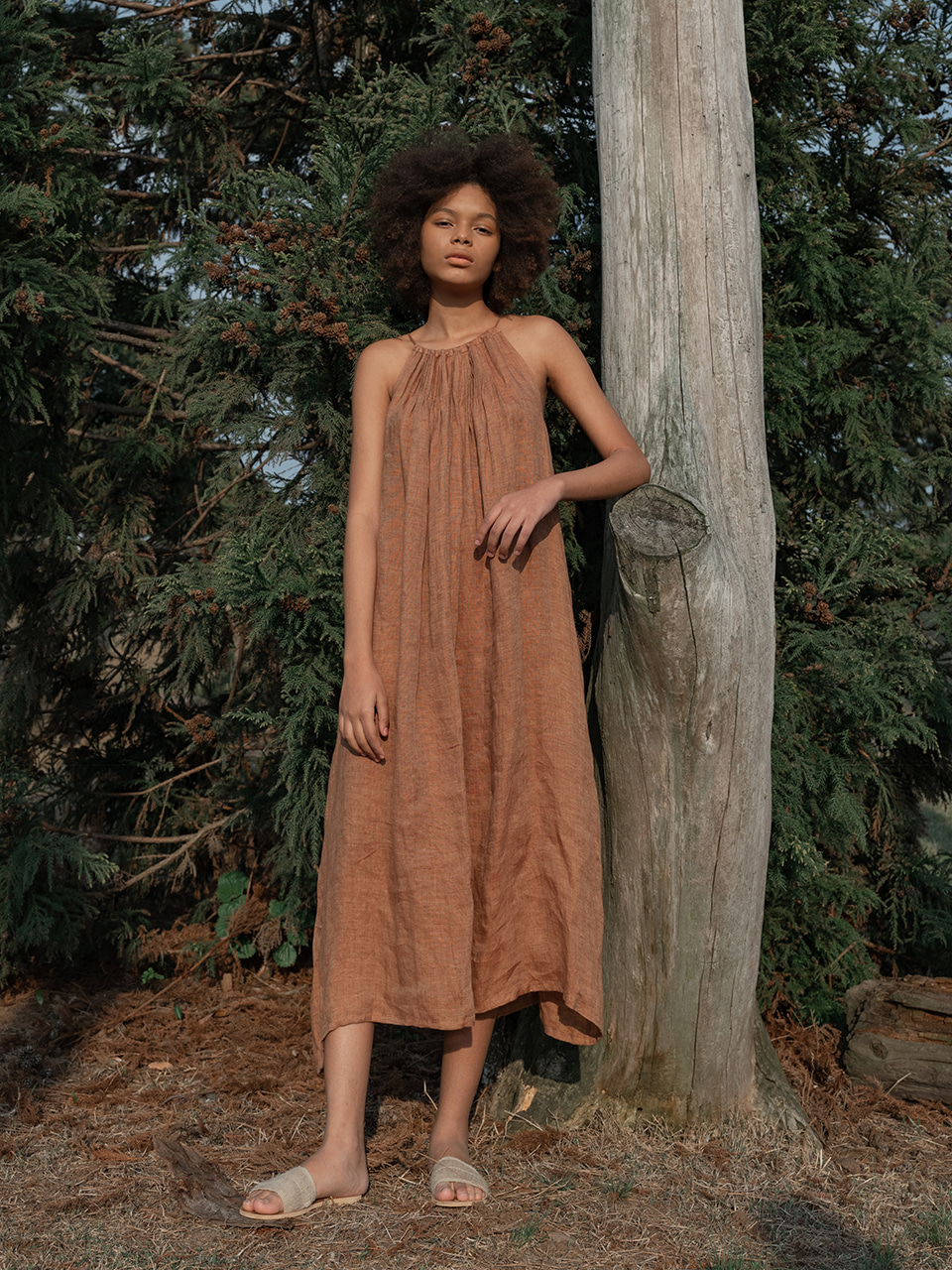Pintuck string long dress_orange brown