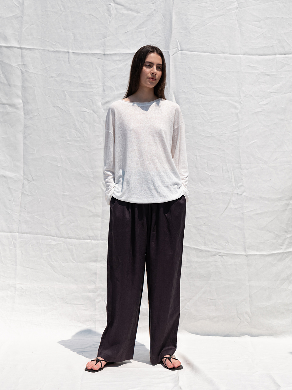 Linen wide banding pants_brown