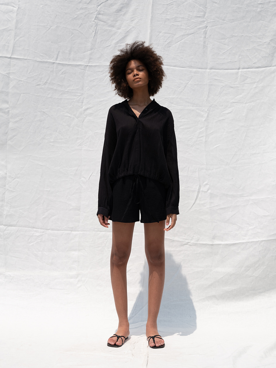 Cotton gauze blouse_black