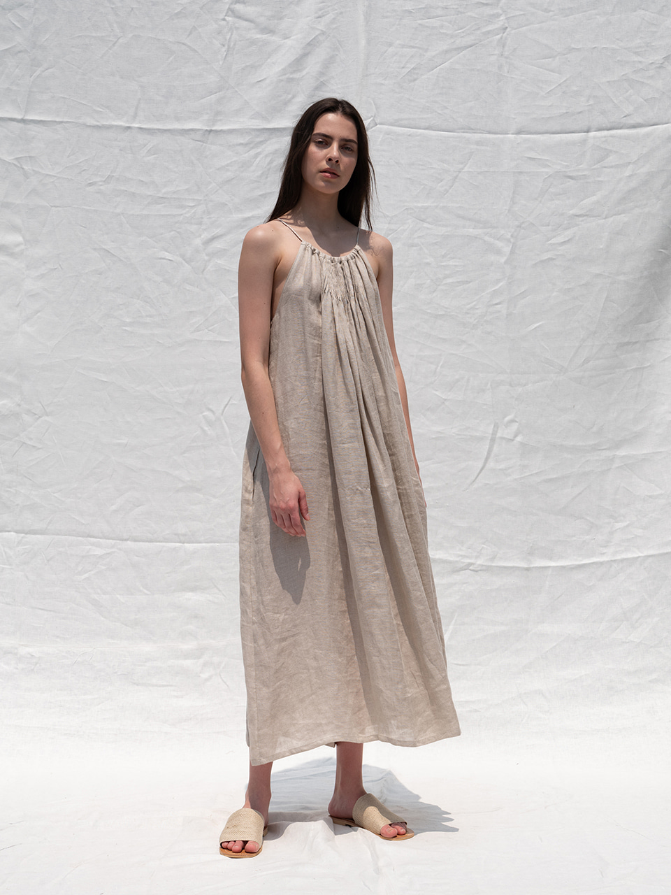 Pintuck string long dress_natural
